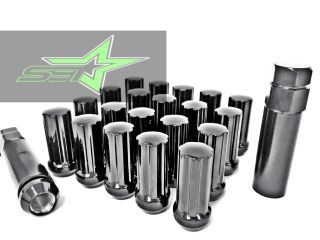 "32 Black Spline Lug Nuts Key 9 16ths Dodge Chevy Ford F 250 F 350 2"" Tall"