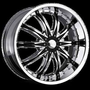 "20"" 22"" 24"" VCT Abruzzi Chrome Black Wheels Dodge Charger Challenger Rims"