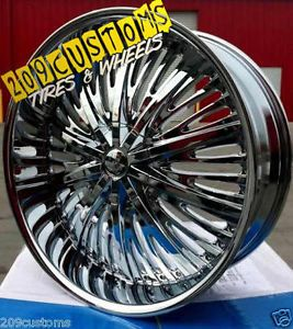 "22"" inch Rims Wheels Tires Chrome RSW66 6x139 7 Escalade 2005 2006 2007 2008"