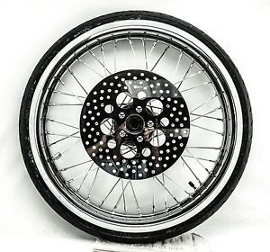 Harley Wide Glide 21 inch Spoke Chrome Front Wheel w Avon Tire Polished Rotor