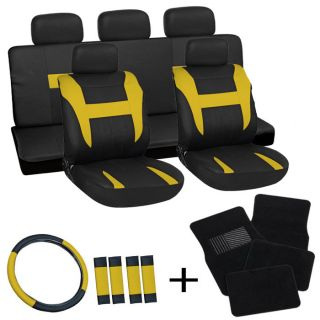 20pc Set Yellow Black Auto Car Seat Covers Wheel Belt Pads Head Rests Floor Mats