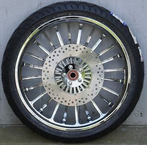 "Forge Tec Legacy Chrome 21"" Wheels Package Set Tires Harley 09 Up FLHT"