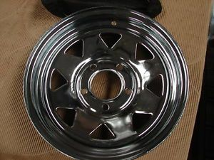 "15"" Chrome Spoke Boat Utility Stock Trailer Wheels 5x4 5"
