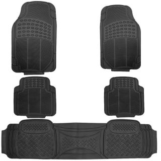 5pc All Weather Heavy Duty Rubber Black Auto Floor Mats Liner