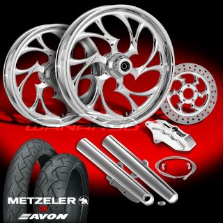 "Shifter Chrome 21"" Wheels Tires Single Disk Kit for 2000 08 Harley Touring"