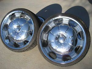 22 inch Chrome Wheels Rims and Tires w Center Caps Universal Mount