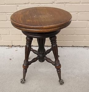 Estate Victorian Cast Iron Eagle Claw Talon Foot Glass Ball Piano Stool