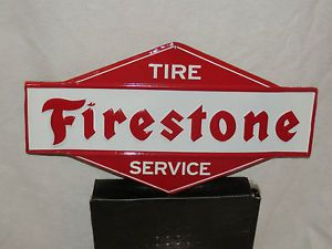 Old Style Aged Metal Firestone Tire Service Sign Antique Look and Beautiful