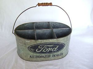 Ford Dealer Galvanized Metal Tool Bin Parts Bucket Can Motor Oil F 150 Sign
