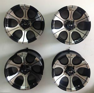 "Set 4 16"" Dick Cepek DC2 6 Lug Chevy GMC New Truck Wheels Black Machined 6x5 5"