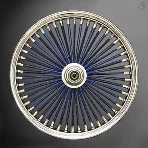 Harley Custom Wheels Big Daddy Chrome Rims Blue Spokes