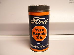 Vintage 40s Ford Original Emergency Tire Repair Kit Can Box Auto Car Accessory
