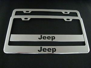 2 Jeep Chrome Metal License Plate Frame Front Rear