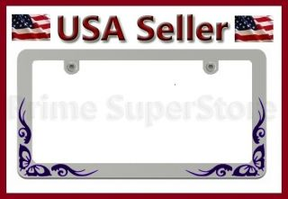 1 New Chrome Metal Purple Butterfly License Plate Frame Car Steel Tag Holder I