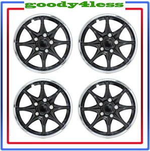 "Set of 4 16"" Black Chrome Wheel Covers Hubcaps Center Hub Caps Rim Tires"