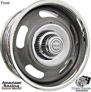 17x7 17x8 Gray American Racing VN327 Rallye Wheels in Stock Chevy Camaro 1969
