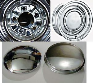 "4 Smoothie Baby Moons for American Racing Wheels 7 1 2 "" Inside Snap Chrome"