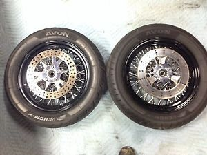 "Harley Fatboy Heritage 16"" Spoke Wheels Black Twisted Spoke w Avon Tires Rotors"