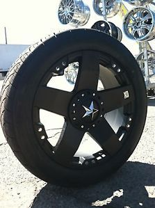 "22"" Black Rims Tires 8x170 Ford F250 Excursion 305 45 22 Rock Stars XD Series"