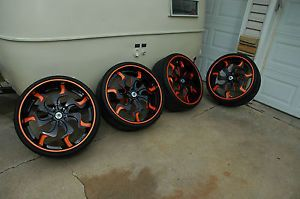 "Asanti 24"" Tires Wheels Fullrun Tires 2000 Miles Dodge Mopar Custom Paint"