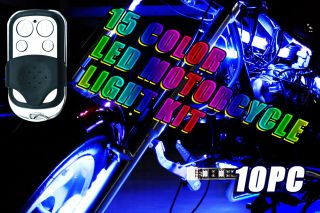 10pc 15 Color RGB LED Motorcycle Light Kit Remote Control 6 LEDs per Strip