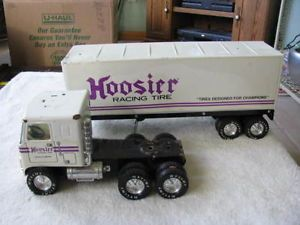 Vintage Hoosier Racing Tire Semi Truck Trailer Toy Estate Find in Great Shape