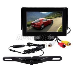 "4 3"" Car TFT LCD Monitor Mirror Reverse Car Rear View Backup Camera Kit"