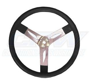 "Black 15"" Dished Aluminum Racing Steering Wheel IMCA"