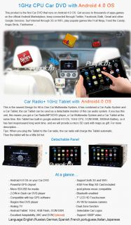 Detachable Tablet 2 DIN Car Stereo DVD Player Android 4 0 WiFi 3G GPS Nav BT FM