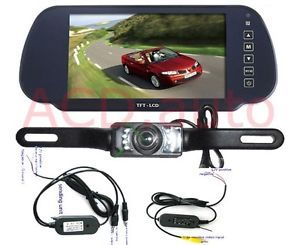 "7"" TFT LCD Car Rearview Mirror Monitor 2 4G Wireless Night'Vision Reverse Camera"