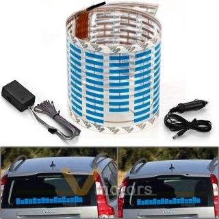 Car Sticker Sound Music Activated Sensor Flashing Blue LED Light Equalizer Glow