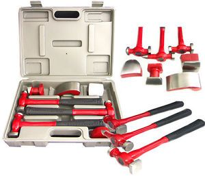 New 7 Piece Auto Body Fender Hammer Repair Kit Dolly Tools w Case Fender Hammers