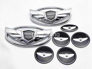 7pcs Hyundai Genesis Wing Kits Front Rear Badge Emblem Wheel Cap Horn Sticker