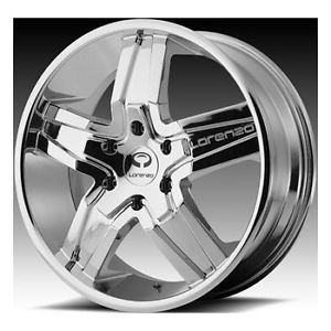 "20"" Lorenzo WL27 Wheel Set Chrome w Black Windows 20x8 5 5LUG Rims"