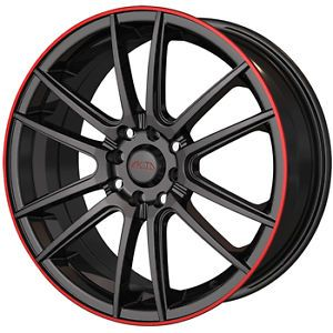 16x7 Black Red Akita AK77 Wheels 5x100 5x4 5 40 Chrysler Sebring Sedan 300 M