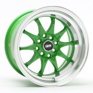 "New 15x8 15"" 513 Green Str Racing Wheels Rims Set Acura BMW Chevy Honda Mazda"