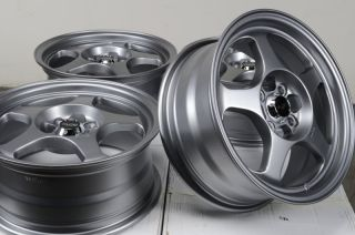 "15"" Gun Metal Wheels Rims 4x100 Jetta Acura Integra Honda Accord Civic Prelude"
