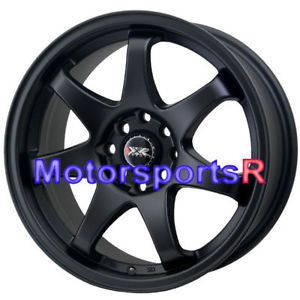 15 15x7 XXR 522 Flat Black Concave Rims Wheels 4x100 03 04 05 06 Scion XA XB E30