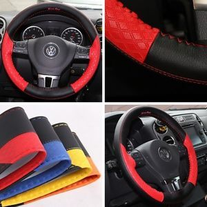 "47019 14 15"" 38cm Steering Wheel Cover Red Leather Fiat Wrap BMW Audi Car SUV"