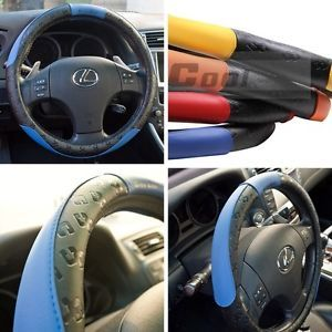 51006 14 15 38cm Steering Wheel Cover Black Blue Leather Fiat BMW Audi SUV Scion