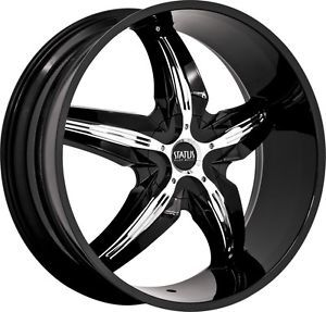 20 Inch 5x4 5 5x120 Black with Chrome Insert Wheels Rims 5 Lug Dodge Ford Mazda