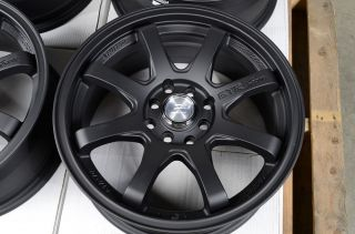 16 4x100 4x114 3 Matte Black Rims Civic Scion XA XB Pontiac G3 G5 Cobalt Wheels