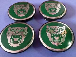 Jaguar Growler Badge XJ XK Green Chrome Wheel Hub Center Cap Complete X4PCS New