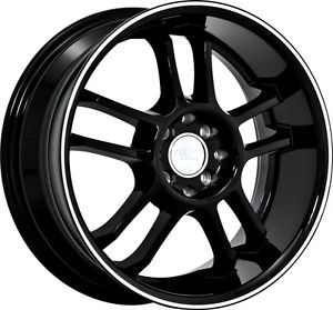 "17"" inch 4x100 4x4 5 Black Machined Wheels Rims 4 Lug Mazda Honda Toyota 2"" Lip"