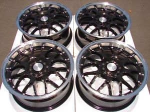 16 5x114 3 5x100 Black Wheels Sebring Neon Accord Civic Mazda 3 6 RSX 5 Lug Rims