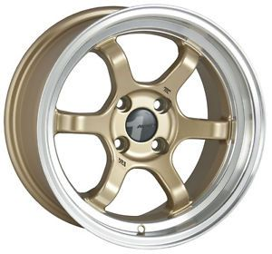 15 AVID1 AV11 Gold Rims Wheels 15x7 5 12 4x100 Scion XB XA Mazda Miata BMW E30