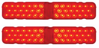 Pair LED 1967 Chevy Camaro Tail Lights Red Lens Rally Sport Custom Hi Tech RS