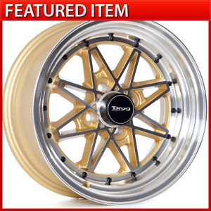 Drag Dr 20 15 15x7 4 100 10 Machined Gold Wheels Rims Honda Civic hellaflush SI