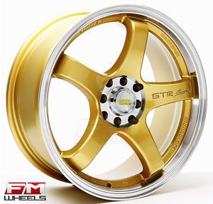 17x7 5 Gold GTR Sport Wheels 5 Lug Honda Civic Accord S2300 RSX TL TSX Rims