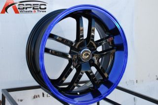 17x7 5 G Line G817 Wheel 5x108 38 Black Blue Rim Fits Volvo C70 V50 V70 XR70